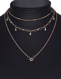 Fashion Gold Color Flowers Decorated Multi-layer Necklace