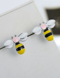 Fashion Yellow+white Bee Shape Design Color Matching Earrings