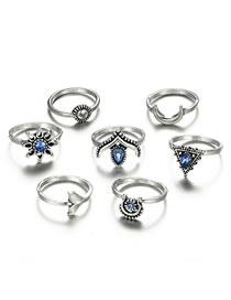 Fashion Silver Color Flower&moon Shape Design Ring(7pcs)
