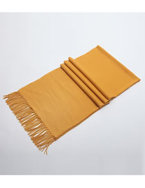 Fashion Yellow Tassel Decorated Pure Color Scarf