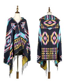 Fashion Navy Cloak Shape Design Thicken Scarf