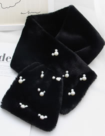 Fashion Black Pearls Decorated Pure Color Thicken Scarf