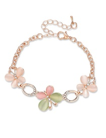 Fashion Pink+green Flowers Decorated Simple Bracelet
