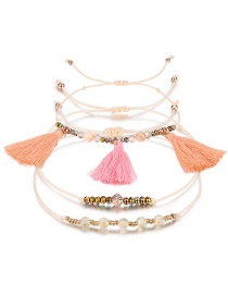 Fashion Beige+pink Beads&tassel Decorated Bracelet((3pcs)