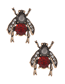 Fashion Red Full Diamond Design Insect Shape Earrings