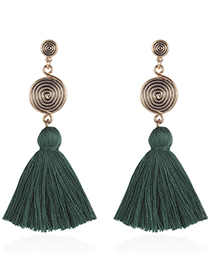 Fashion Green Round Shape Design Tassel Earrings