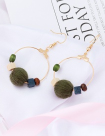 Fashion Green Fuzzy Balls Decorated Earrings
