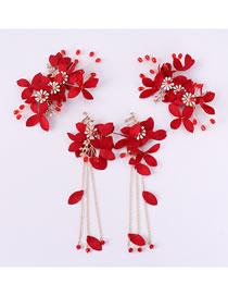 Fashion Red Tassel Decorated Bridal Hair Accessories