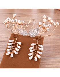 Fashion Gold Color Swan Decorated Bridal Hair Accessories