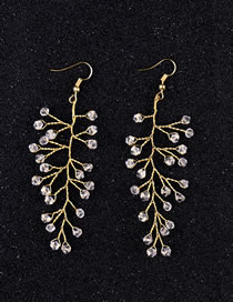 Fashion Gold Color Full Diamond Design Simple Earrings