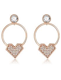 Fashion Gold Color Circular Ring Decorated Simple Earrings
