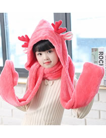 Fashion Red Deer Shape Design Pure Color Scarf&hat