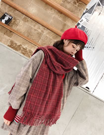 Fashion Claret Red Grids Pattern Decorated Tassel Scarf