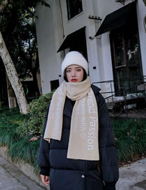 Fashion Beige Letter Pattern Decorated Scarf