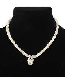 Fashion Beige Full Pearl Decorated Necklace