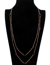 Fashion Purple Diamond Decorated Double Layer Necklace