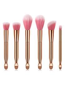 Fashion Gold Color+pink Flame Shape Decorated Make Up Brush(6pcs)