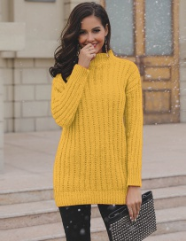 Fashion Yellow Pure Color Decorated Sweater