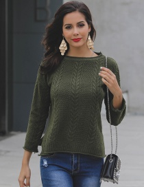 Fashion Green Pure Color Decorated Sweater