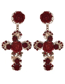Fashion Claret Red Cross Shape Decorated Flower Earrings