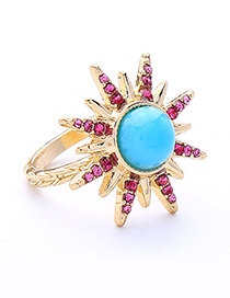 Fashion Blue Full Diamond Decorated Star Shape Ring