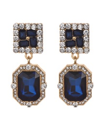 Fashion Navy Geometric Shape Decorated Earrings