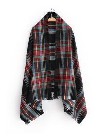 Fashion Black+red Grids Pattern Decorated Scarf