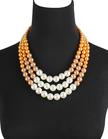 Fashion Yellow+white Multi-layer Design Necklace