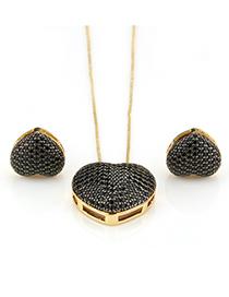 Fashion Black Heart Shape Decorated Jewelry Set