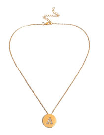 Simple Gold Color Letter A Shape Deocrated Necklace