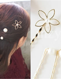 Fashion Gold Color Flower Shape Decorated Hair Clip(3pcs)