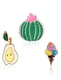 Fashion Multi-color Cactus Shape Decorated Clothing&bag Buckle(3pcs)