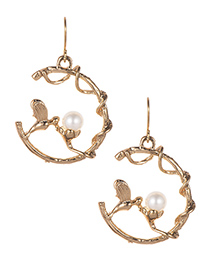 Simple Gold Color Bird Shape Decorated Earrings