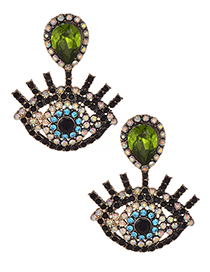 Fashion Green Eye Shape Decorated Earrings