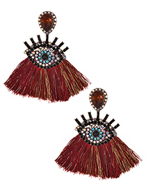 Fashion Claret Red Eye Shape Decorated Tassel Earrings
