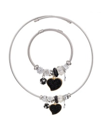 Fashion Black Heart Shape Decorated Jewelry Set