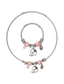Fashion Pink Elephant Shape Decorated Jewelry Set