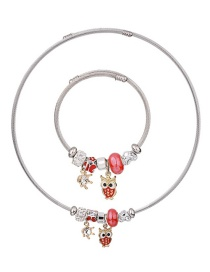 Fashion Red Owl Shape Decorated Jewelry Set