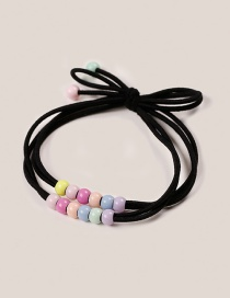 Fashion Black Bead Decorated Hair Rope