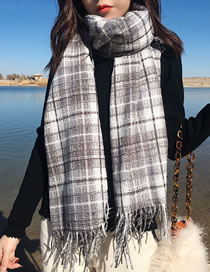 Fashion Gray Grid Pattern Decorated Scarf