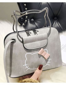 Fashion Light Gray Cat Pattern Decorated Handbag