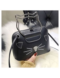 Fashion Black+white Cat Pattern Decorated Handbag