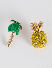 Fashion Yellow Pineapple&tree Shape Decorated Earrings