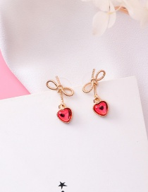 Fashion Red Bowknot&heart Shape Decorated Earrings