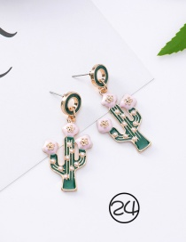 Fashion Pink+green Cactus Shape Decorated Earrings