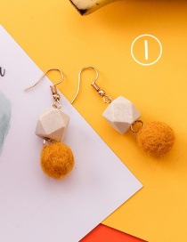 Fashion Yellow Pom Ball Decorated Earrings