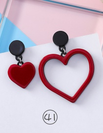 Fashion Red Heart Shape Design Asymmetric Earrings
