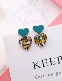 Sweet Green Grid Pattern Design Heart Shape Earrings