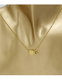 Simple Gold Color Letter G&heart Shape Decorated Necklace