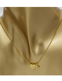 Simple Gold Color Letter K&heart Shape Decorated Necklace